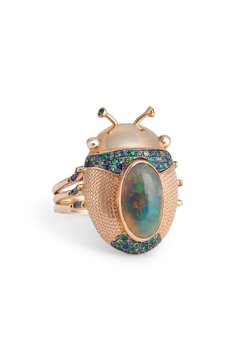 DANIELA VILLEGAS Mini Catarina Ring, Main, color, PINK GOLD