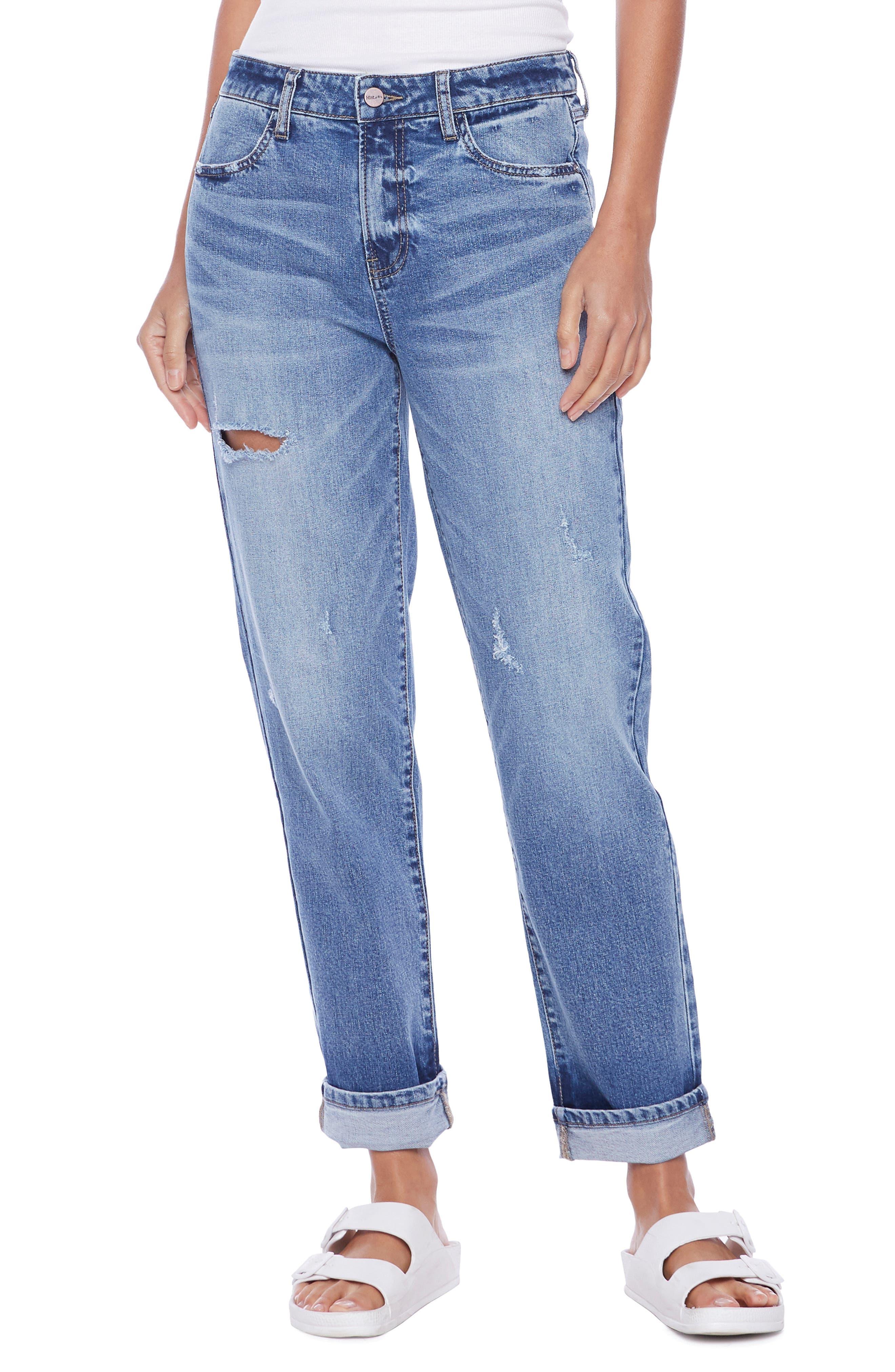 Effortless High Waist Ripped Boy Jeans
