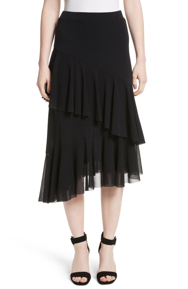 Ruffle Tulle Midi Skirt by Fuzzi