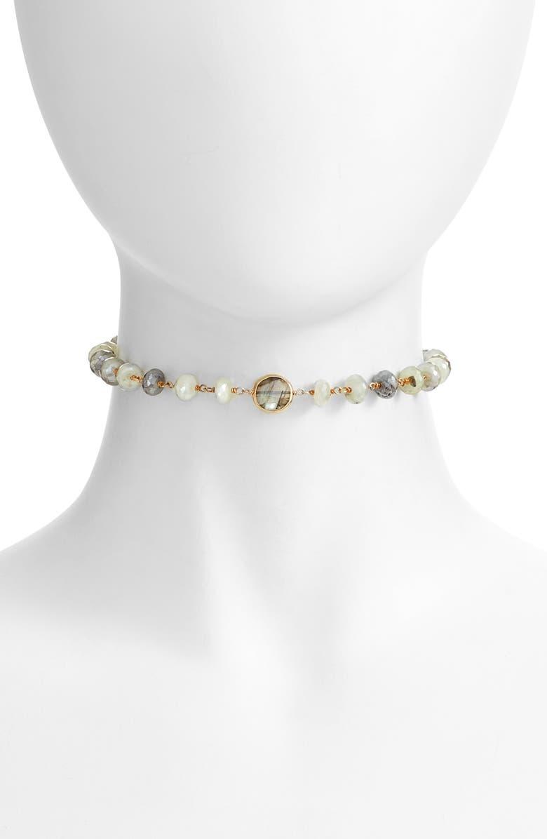 ELA RAE Libi Grand Choker Necklace, Main, color, PHRENITE / LABRADORITE