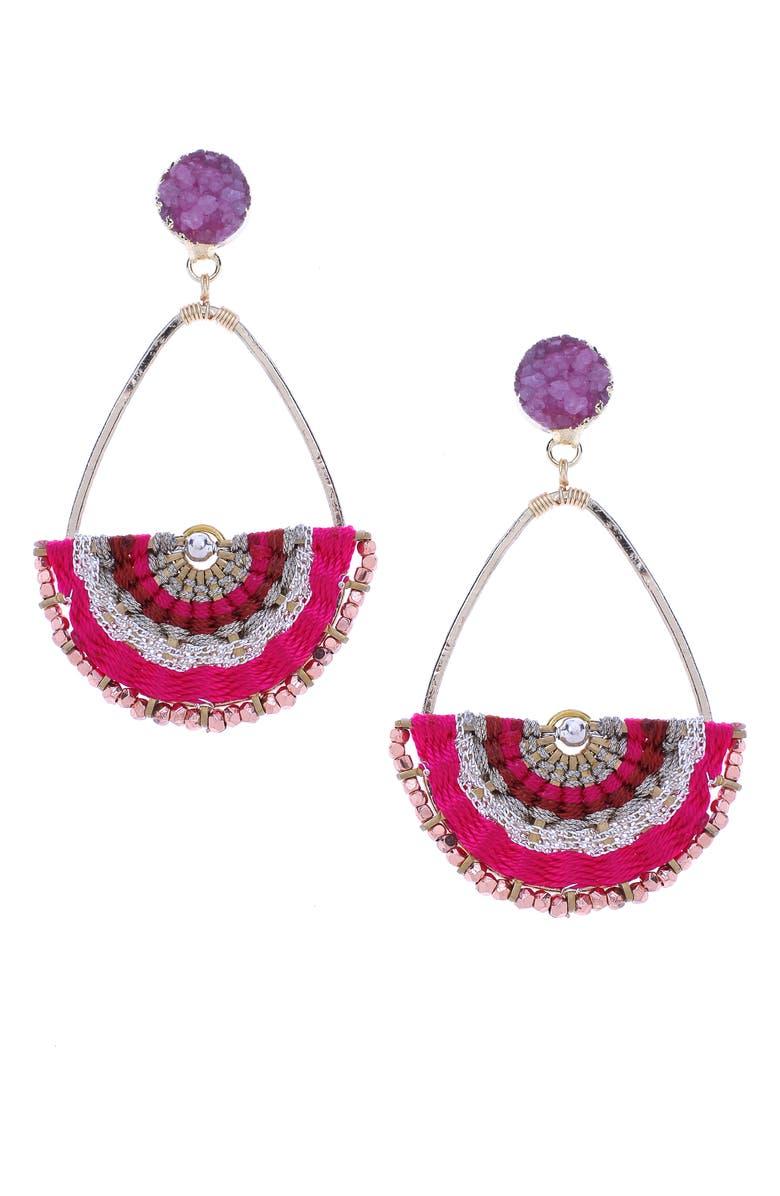 NAKAMOL DESIGN Teardrop Half Moon Earrings, Main, color, FUCHSIA MIX