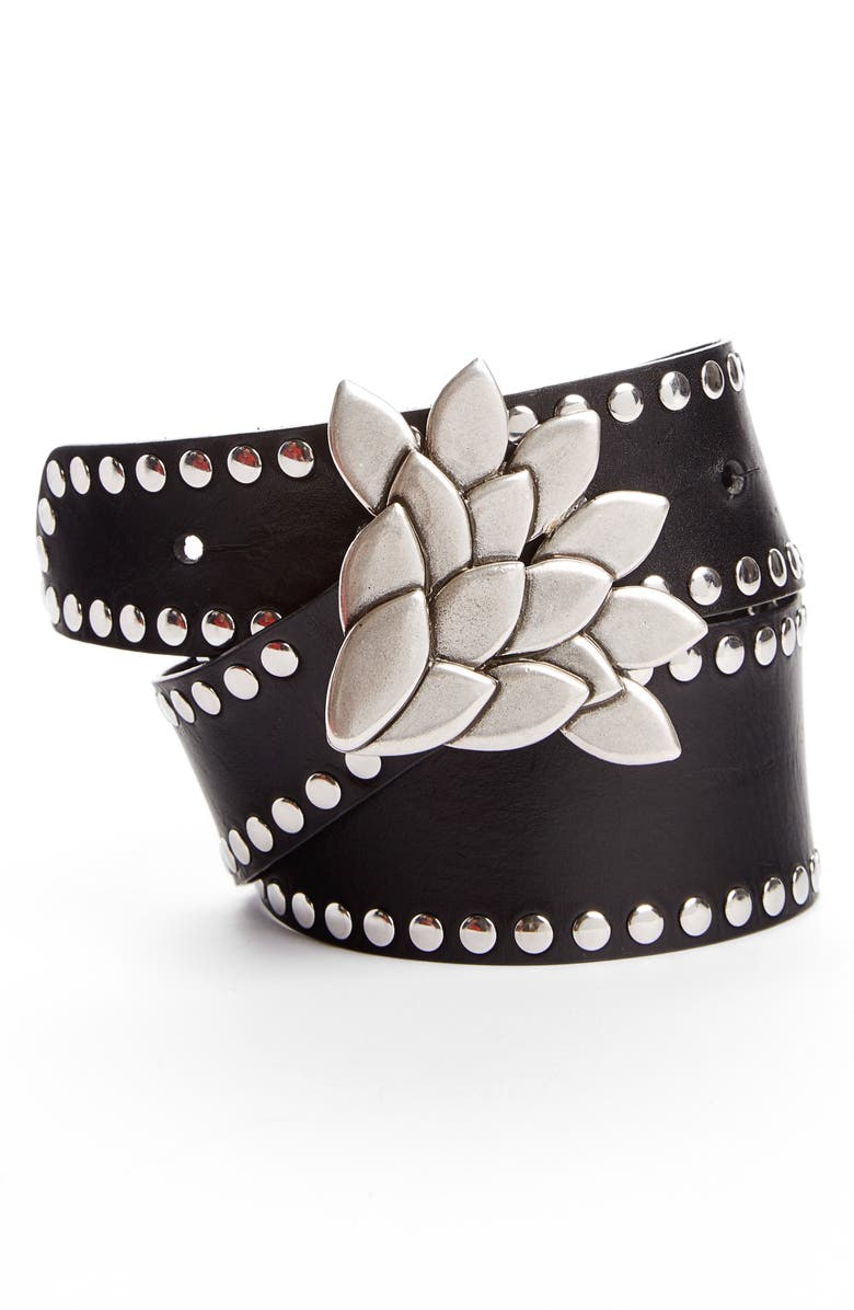 ISABEL MARANT Lowi Floral Studded Leather Belt, Main, color, 001