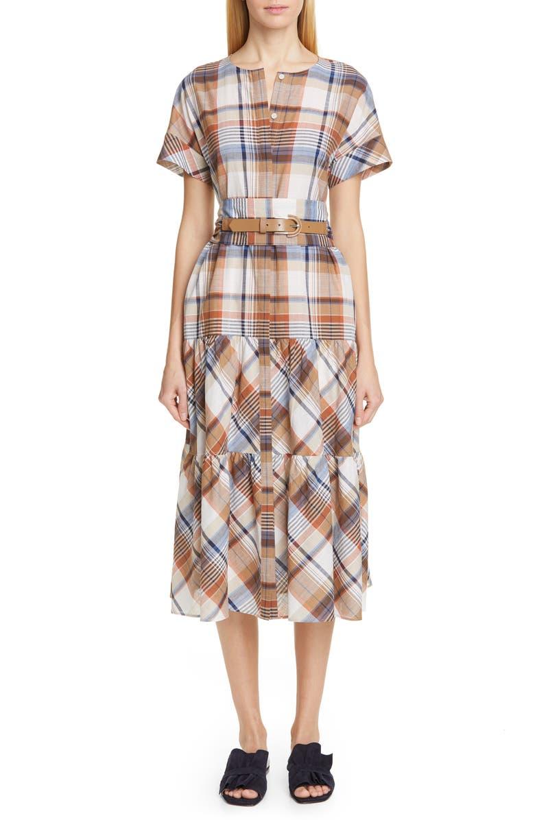 LAFAYETTE 148 NEW YORK Angelique Tiered Midi Dress, Main, color, 250