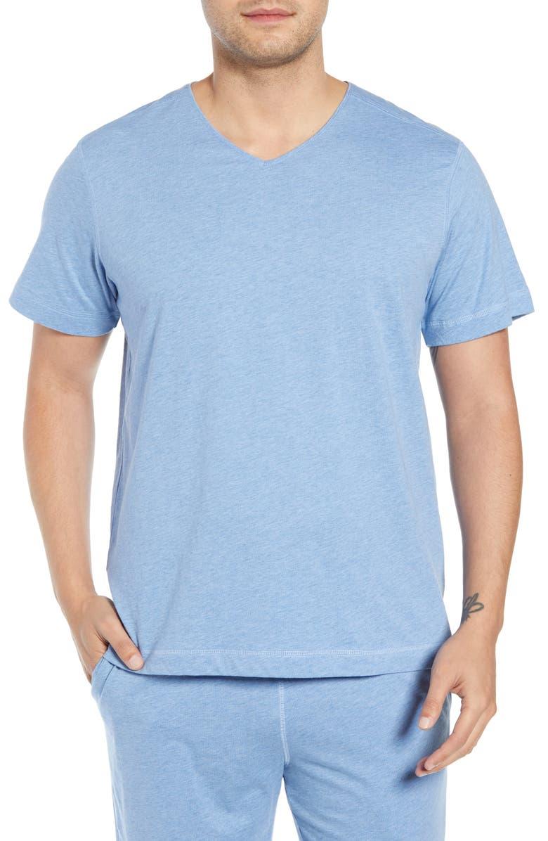 DANIEL BUCHLER Peruvian Pima Cotton Heather Sleep Shirt, Main, color, BLUE HEATHER