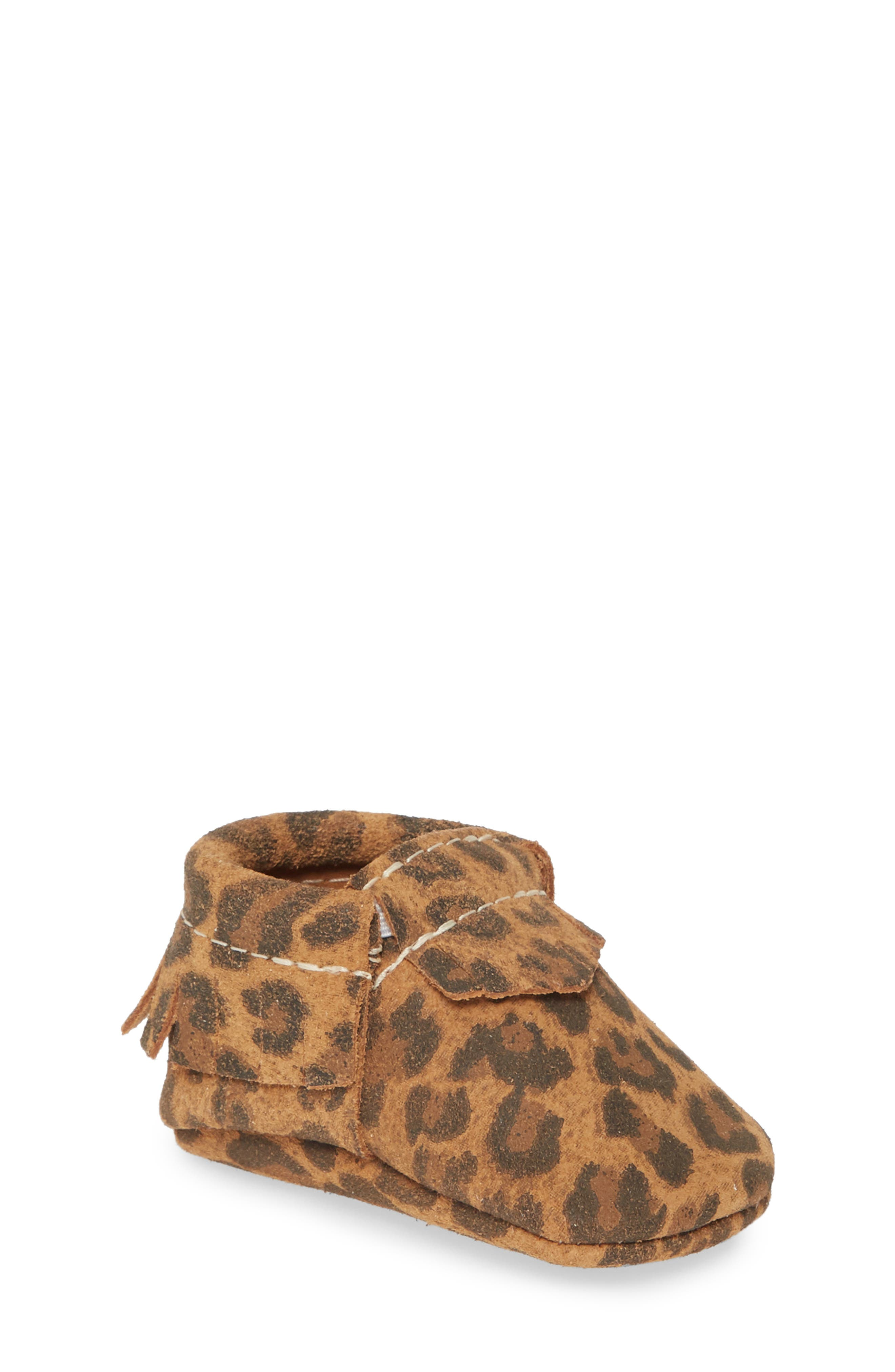 Infant Girls Freshly Picked Leopard Print Moccasin Size 3 M  Beige