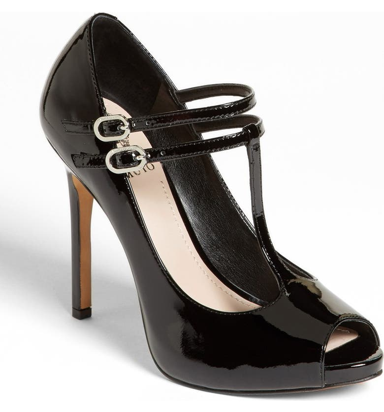 VINCE CAMUTO 'Carlii' Patent Leather Peep Toe Pump, Main, color, 001