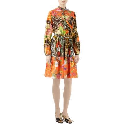 Gucci Mussola Patchwork Print Long Sleeve Cotton Dress, US / 44 IT - Orange