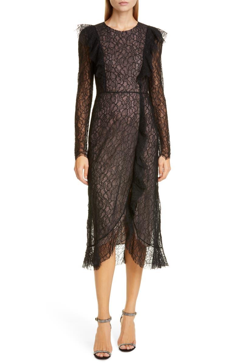 GIAMBATTISTA VALLI Long Sleeve Lace Cocktail Dress, Main, color, BLACK