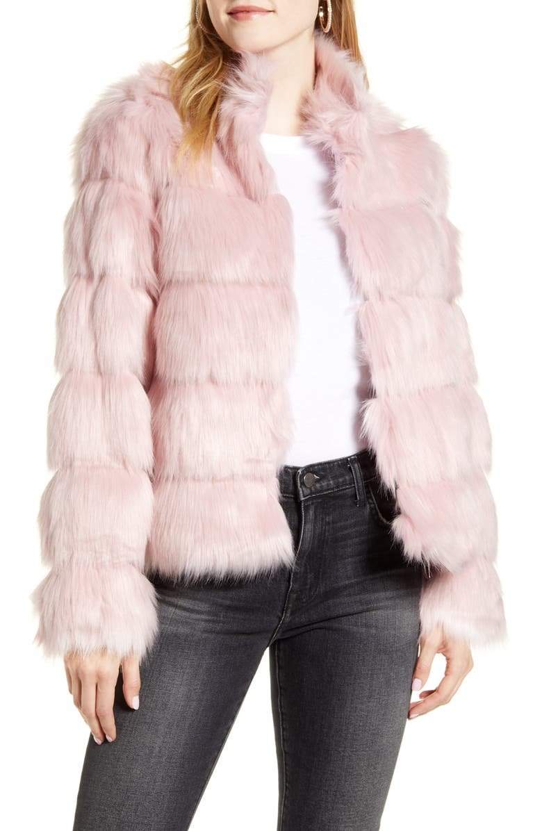 RACHEL PARCELL Faux Fur Tiered Coat, Main, color, PINK CRYSTAL