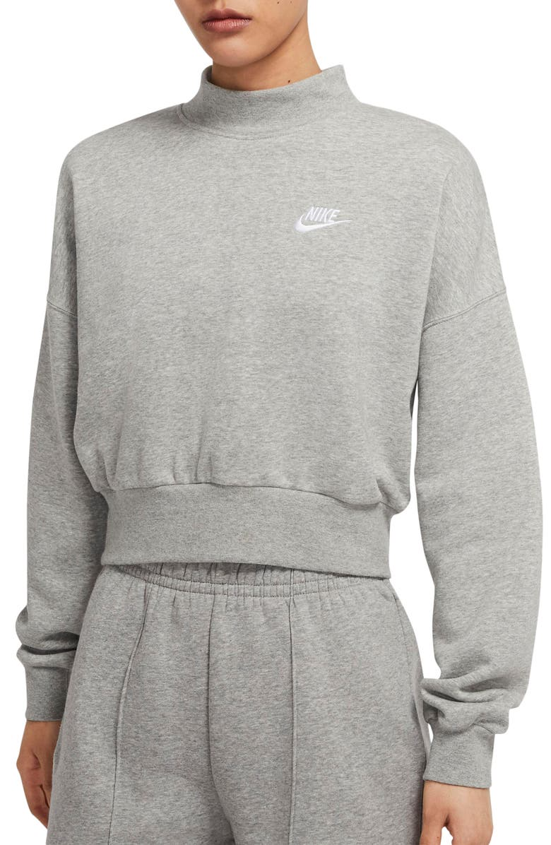 NIKE Sportswear Essential Fleece Mock Neck Sweatshirt, Main, color, DARK GREY HEATHER/ WHITE