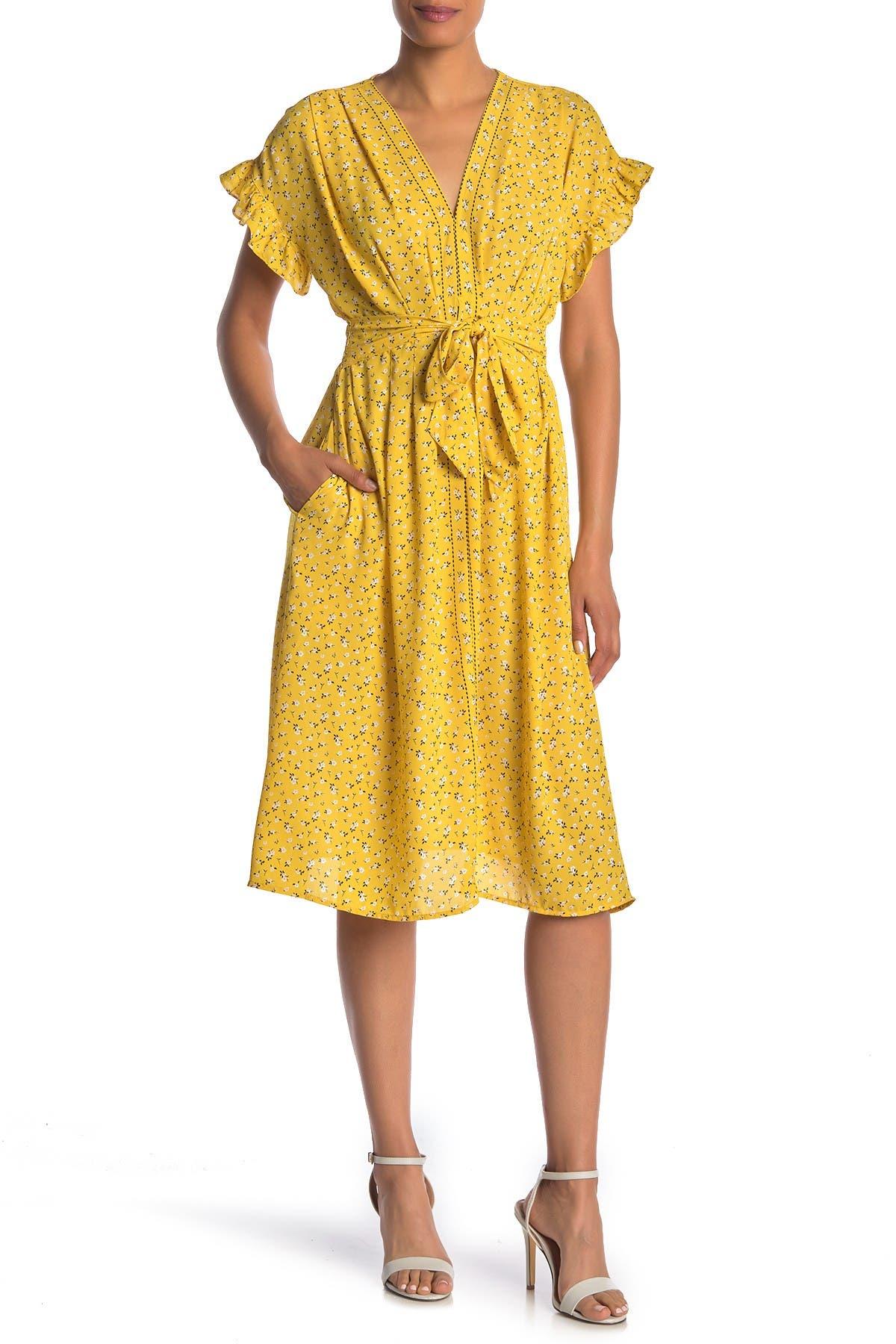 Image of Max Studio Ruffle Sleeve Midi Dress