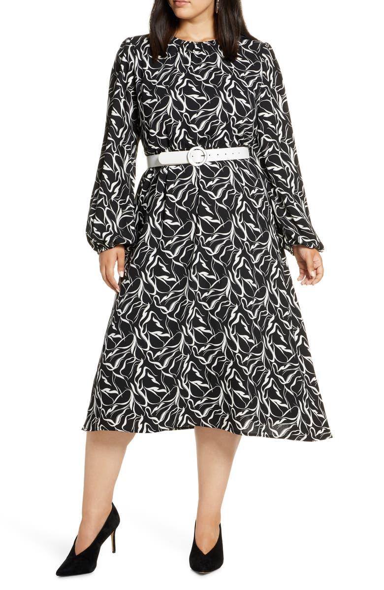 HALOGEN<SUP>®</SUP> Long Sleeve Midi Dress, Main, color, BLACK- IVORY STROKE PRINT