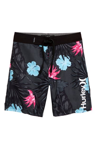 Hurley Kids' Military Floral Board Shorts In Black