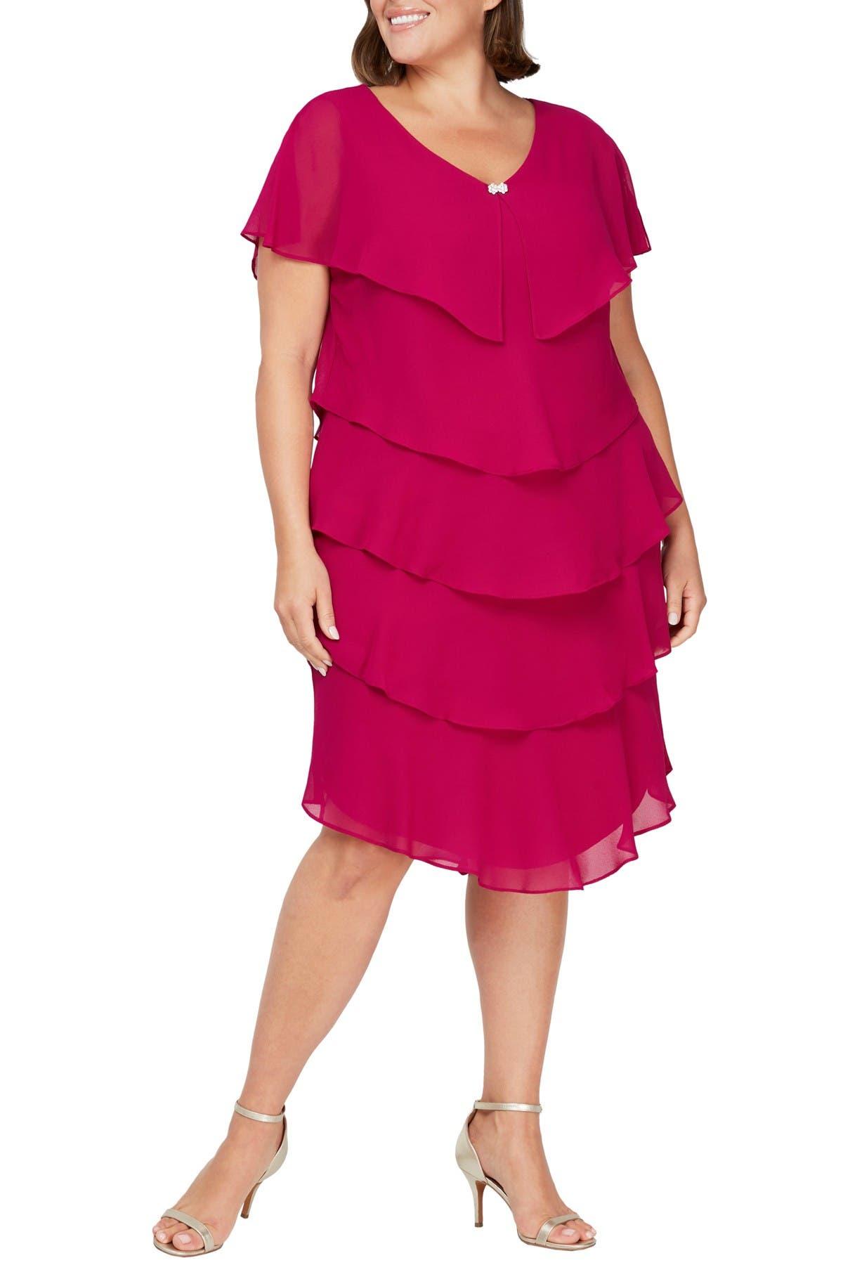 Image of SLNY Pebble Georgette Tiered Dress