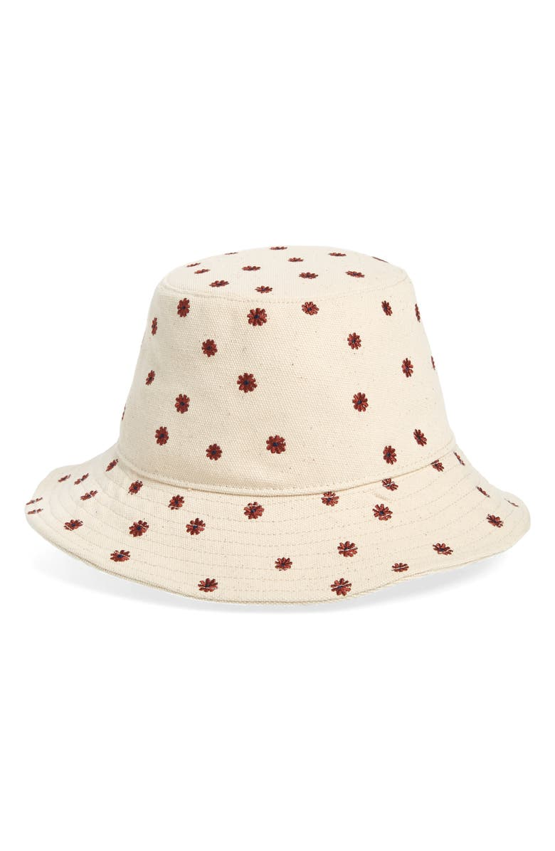 MADEWELL Daisy Embroidered Short Brimmed Canvas Bucket Hat, Main, color, CLOUD LINING MULTI