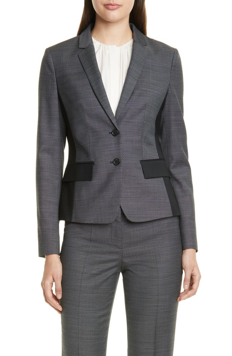 BOSS Jesuleana Micro Pattern Suit Jacket, Main, color, BLACK FANTASY