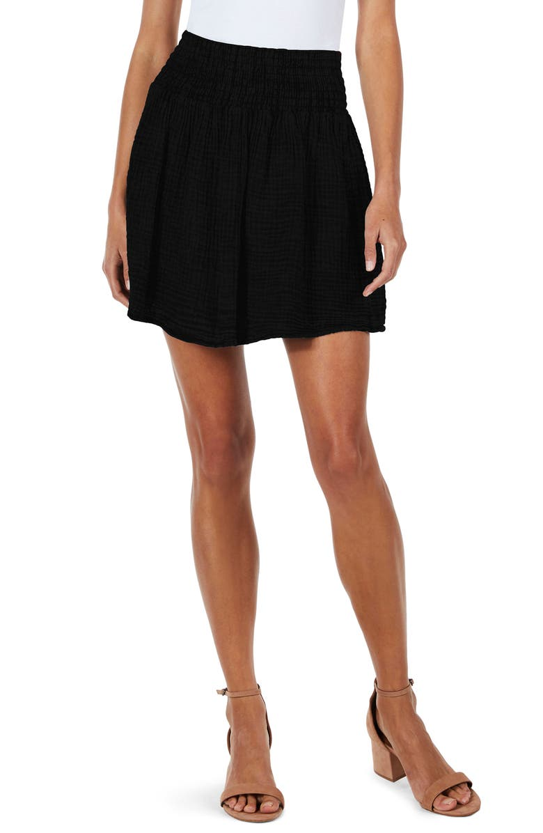 MICHAEL STARS Smocked Waist Skirt, Main, color, 001