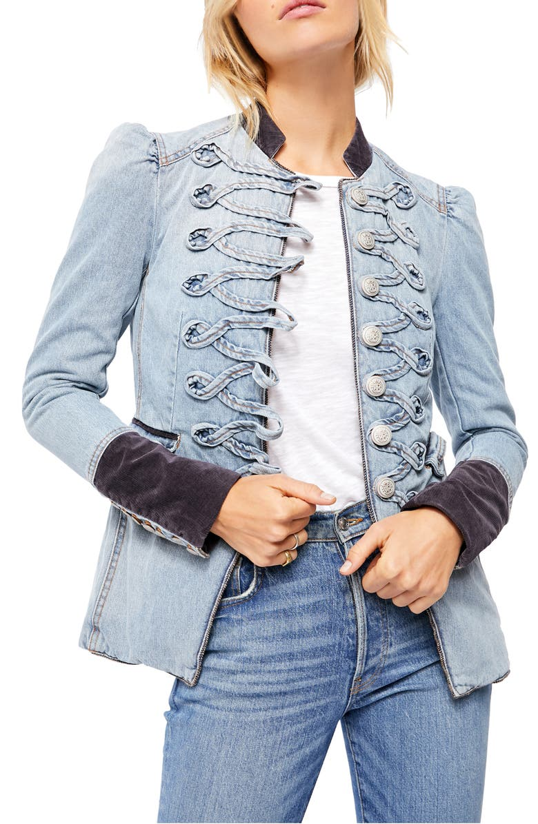 FREE PEOPLE Seamed & Structured Denim Military Jacket, Main, color, 459