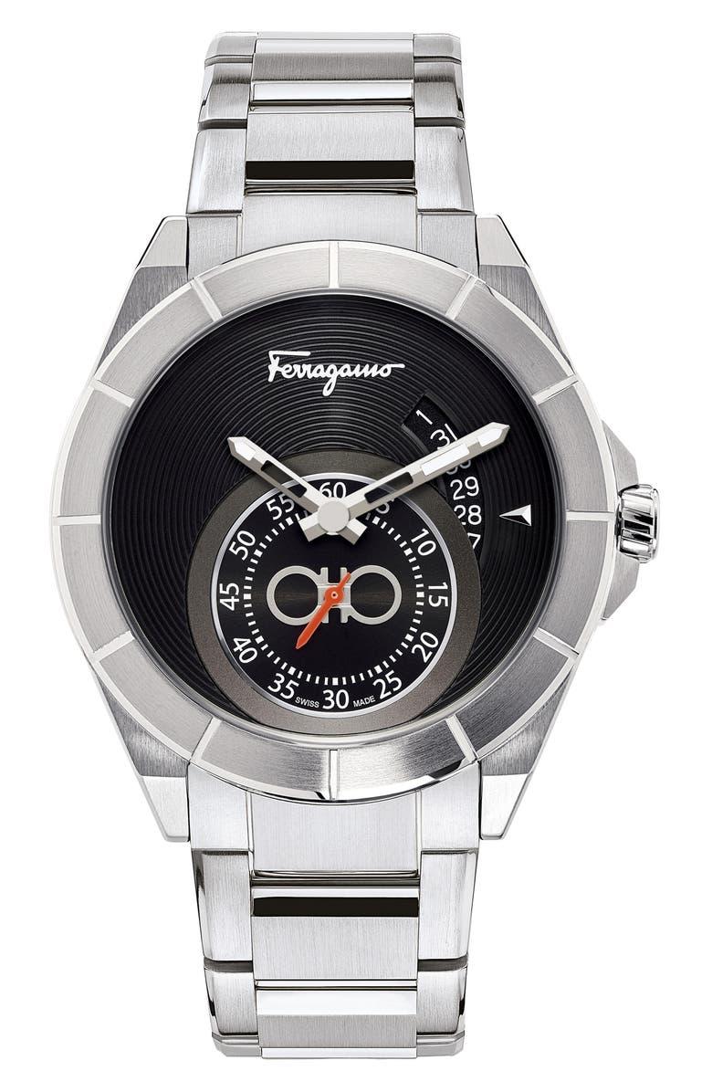 SALVATORE FERRAGAMO Urban Bracelet Watch, 43mm, Main, color, BLACK GUILLOCHE/ SILVER
