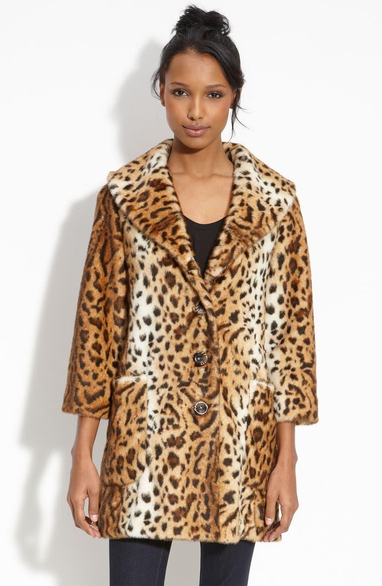 GUESS Leopard Print Faux Fur Coat, Main, color, 220