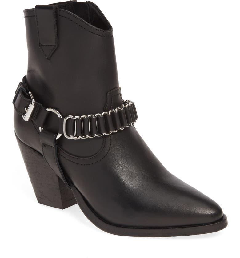 ALLSAINTS Rolene Western Belted Boot, Main, color, BLACK