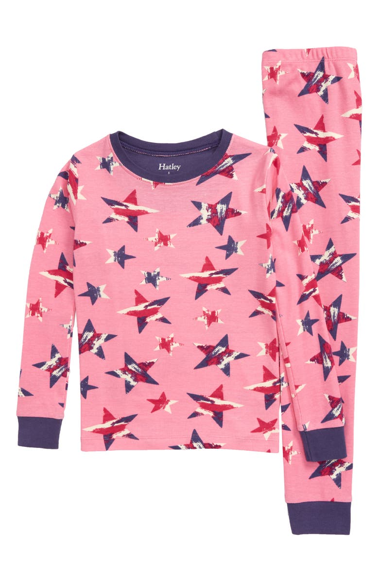 HATLEY Twinkle Stars Fitted Two-Piece Pajamas, Main, color, 650