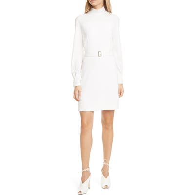 Judith & Charles Aalto Belted Long Sleeve Sheath Dress, Ivory