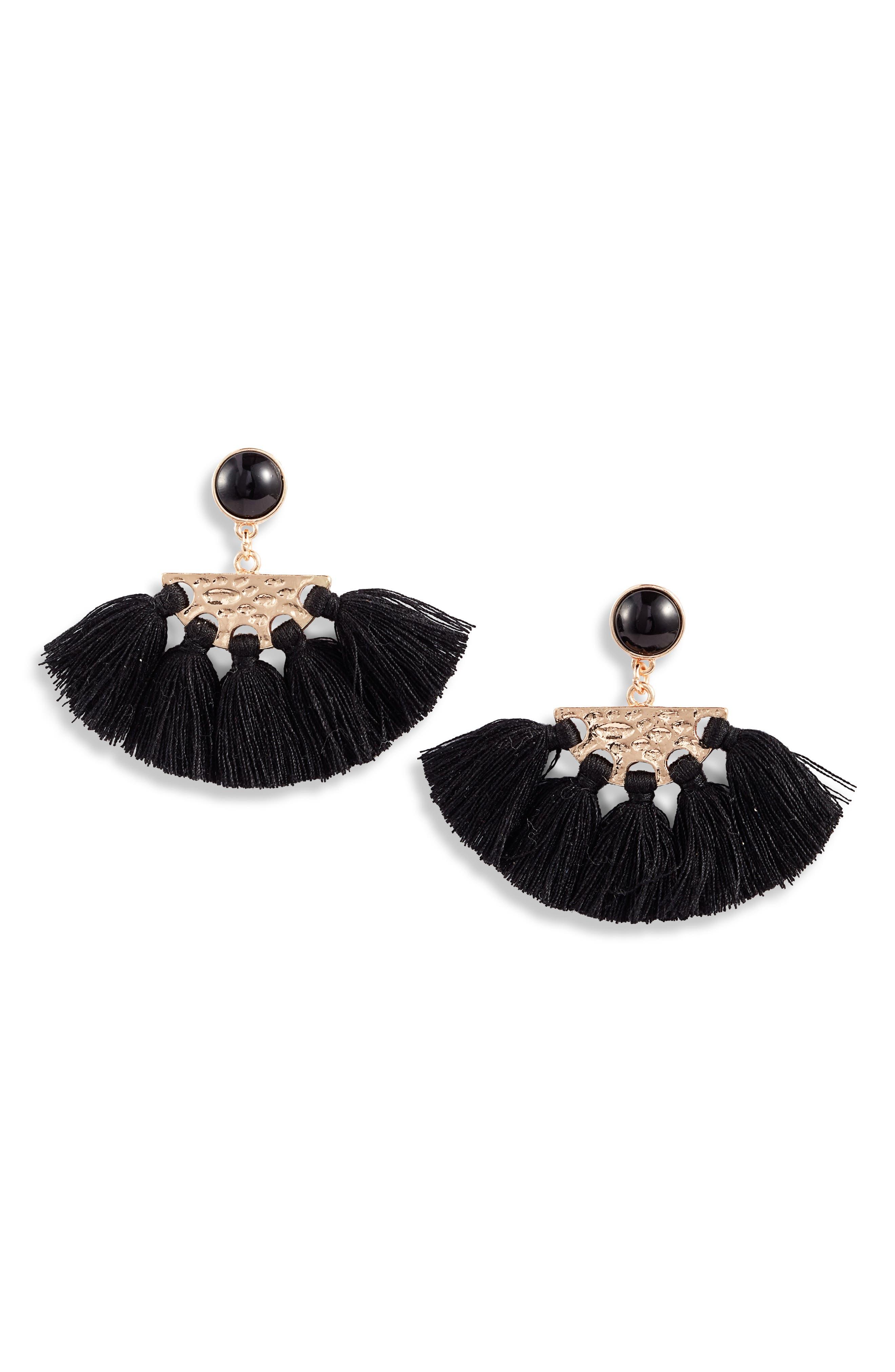 ,                             Tassel Fan Drop Earrings,                             Main thumbnail 1, color,                             GOLD/ BLACK