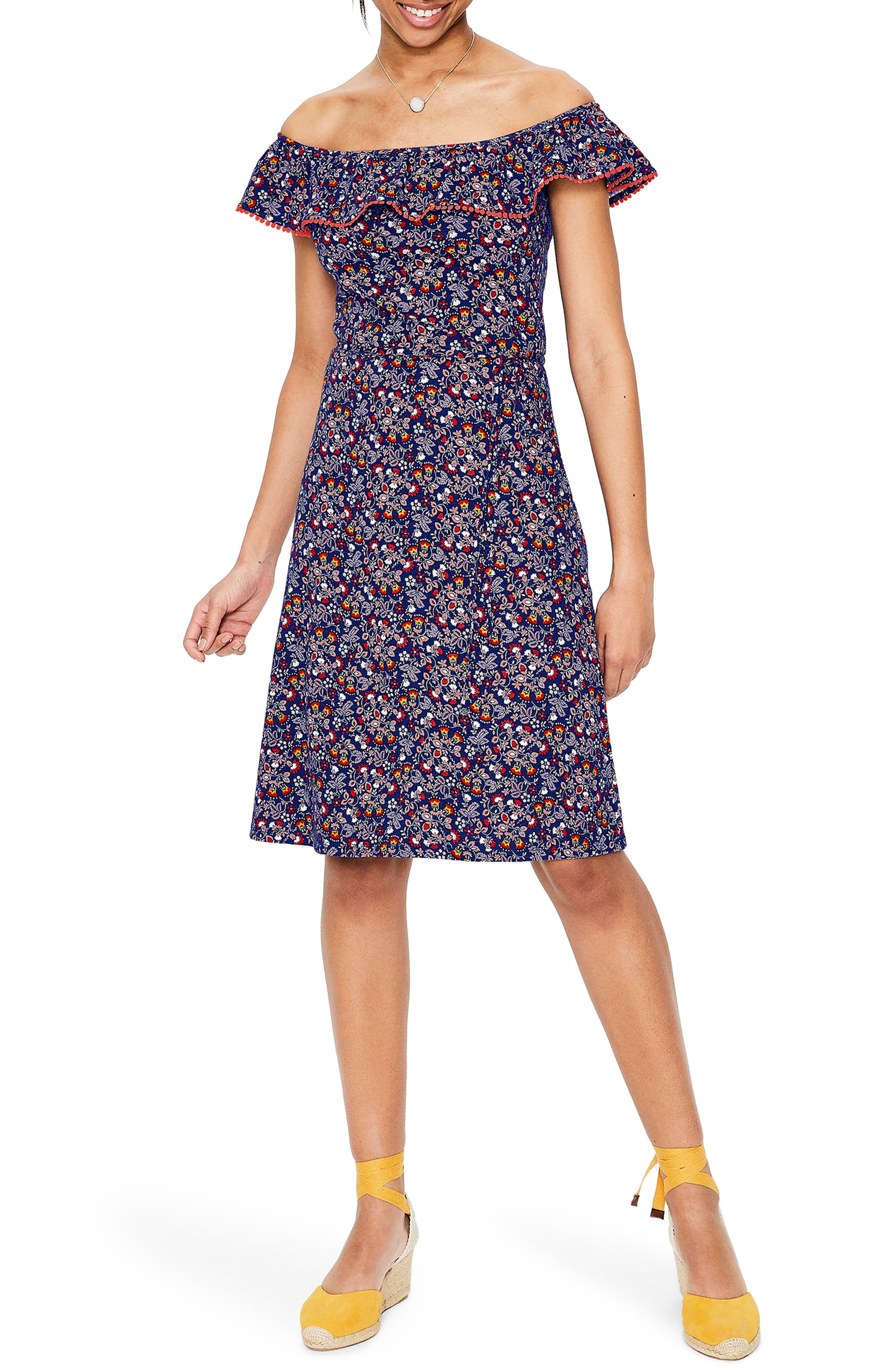 Boden Bethany Off The Shoulder Dress, (similar to 1-16W) - Blue