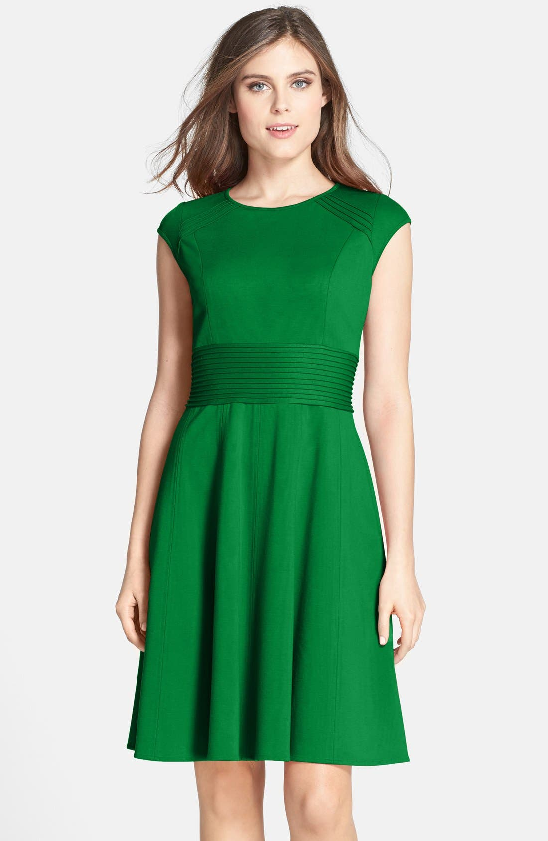 ,                             Pintucked Waist Seamed Ponte Knit Fit & Flare Dress,                             Main thumbnail 16, color,                             310