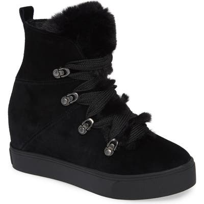 Jslides Whitney Faux Fur Trim High Top Sneaker, Black
