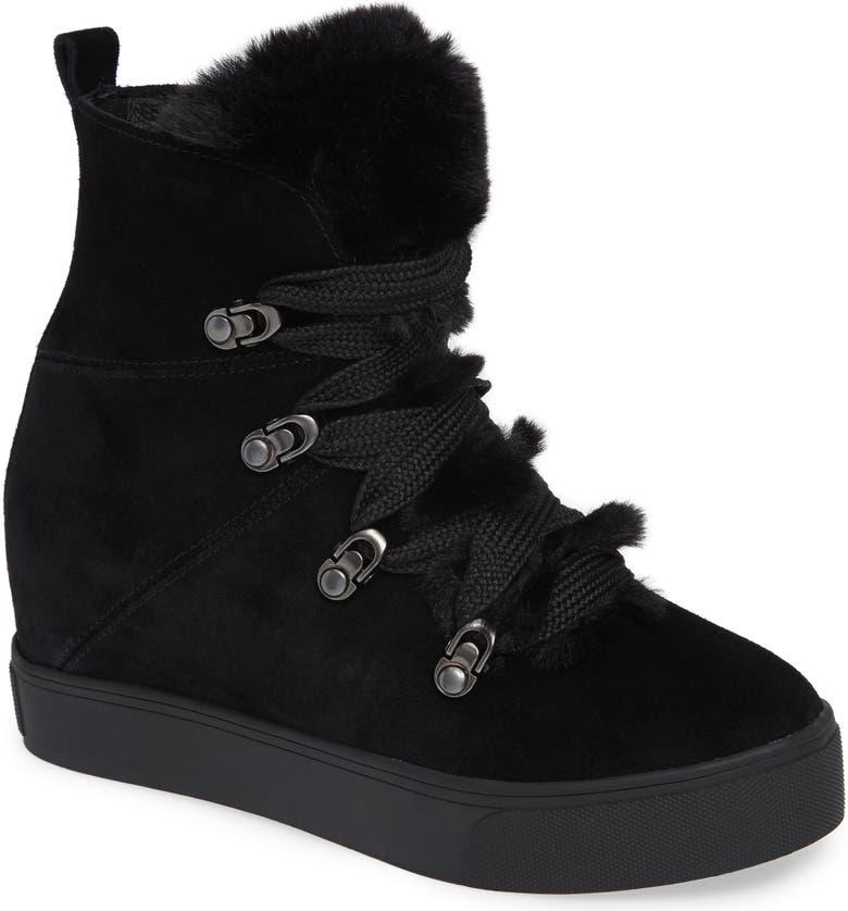 JSLIDES Whitney Faux Fur Trim High Top Sneaker, Main, color, BLACK SUEDE