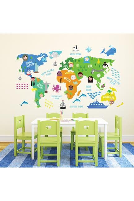 Image of WalPlus Colorful Nursery World Map Decal