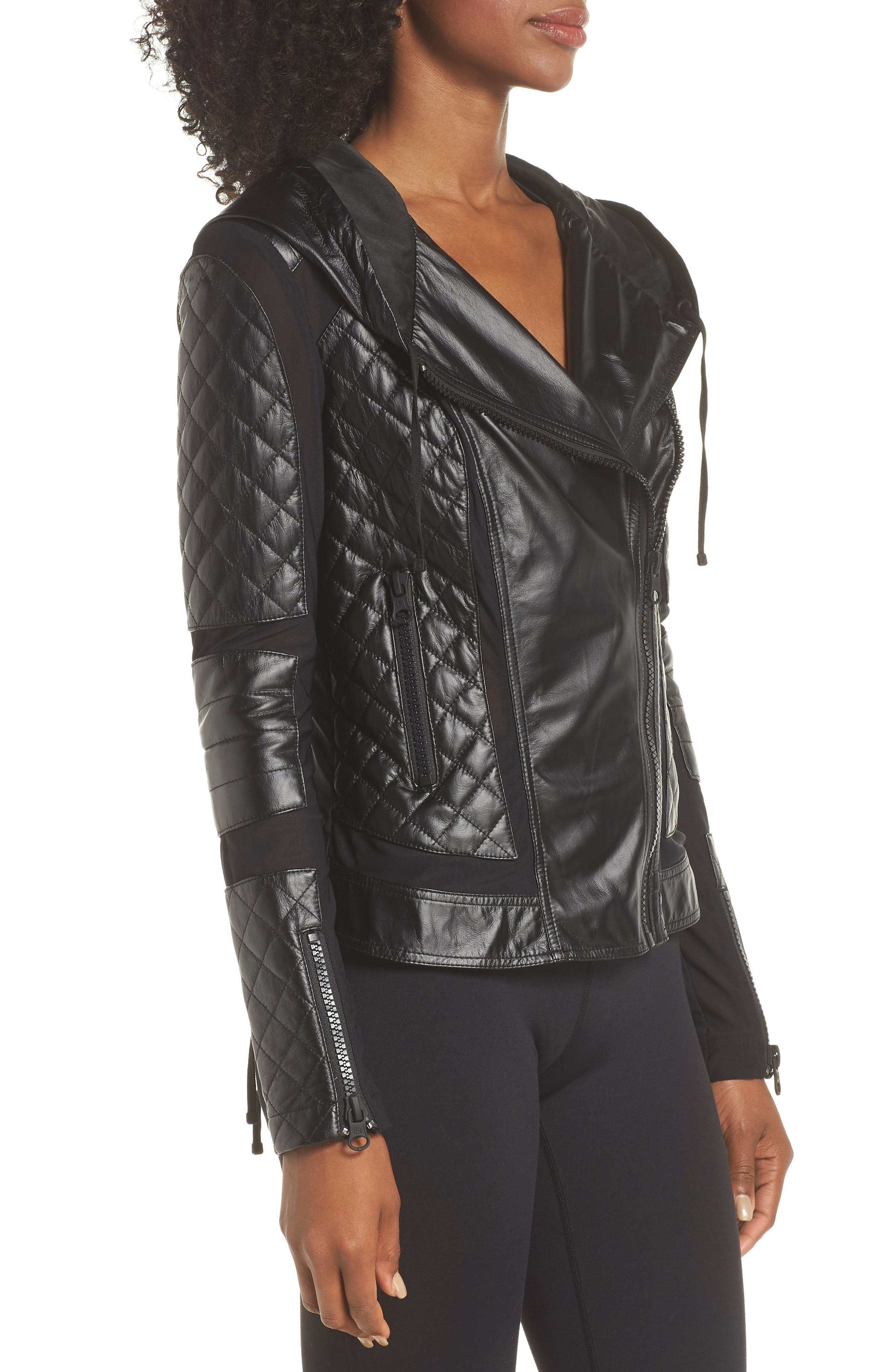 ,                             Voyage Hooded Leather & Mesh Moto Jacket,                             Alternate thumbnail 10, color,                             001