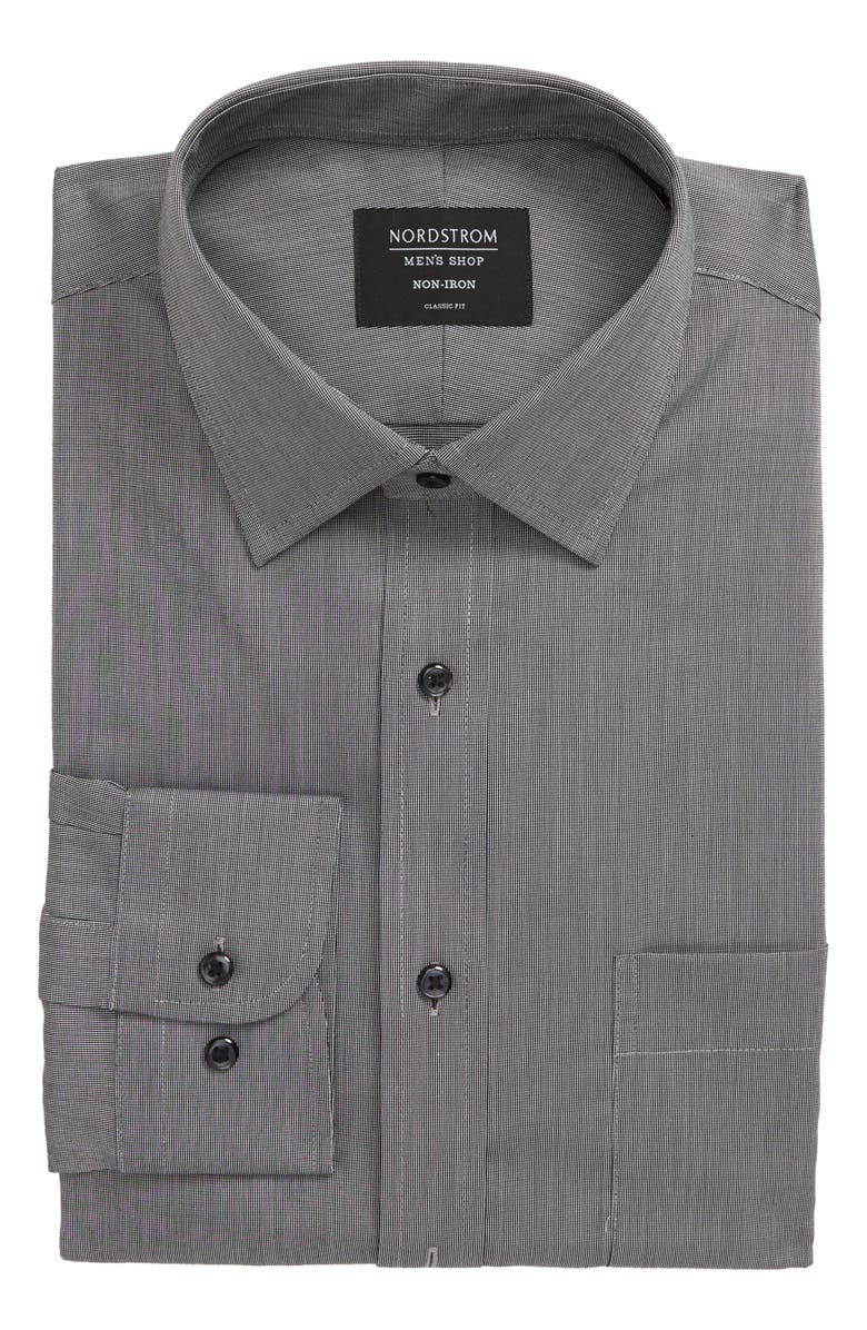 NORDSTROM MEN'S SHOP Classic Fit Non-Iron Solid Dress Shirt, Main, color, GREY CASTLEROCK