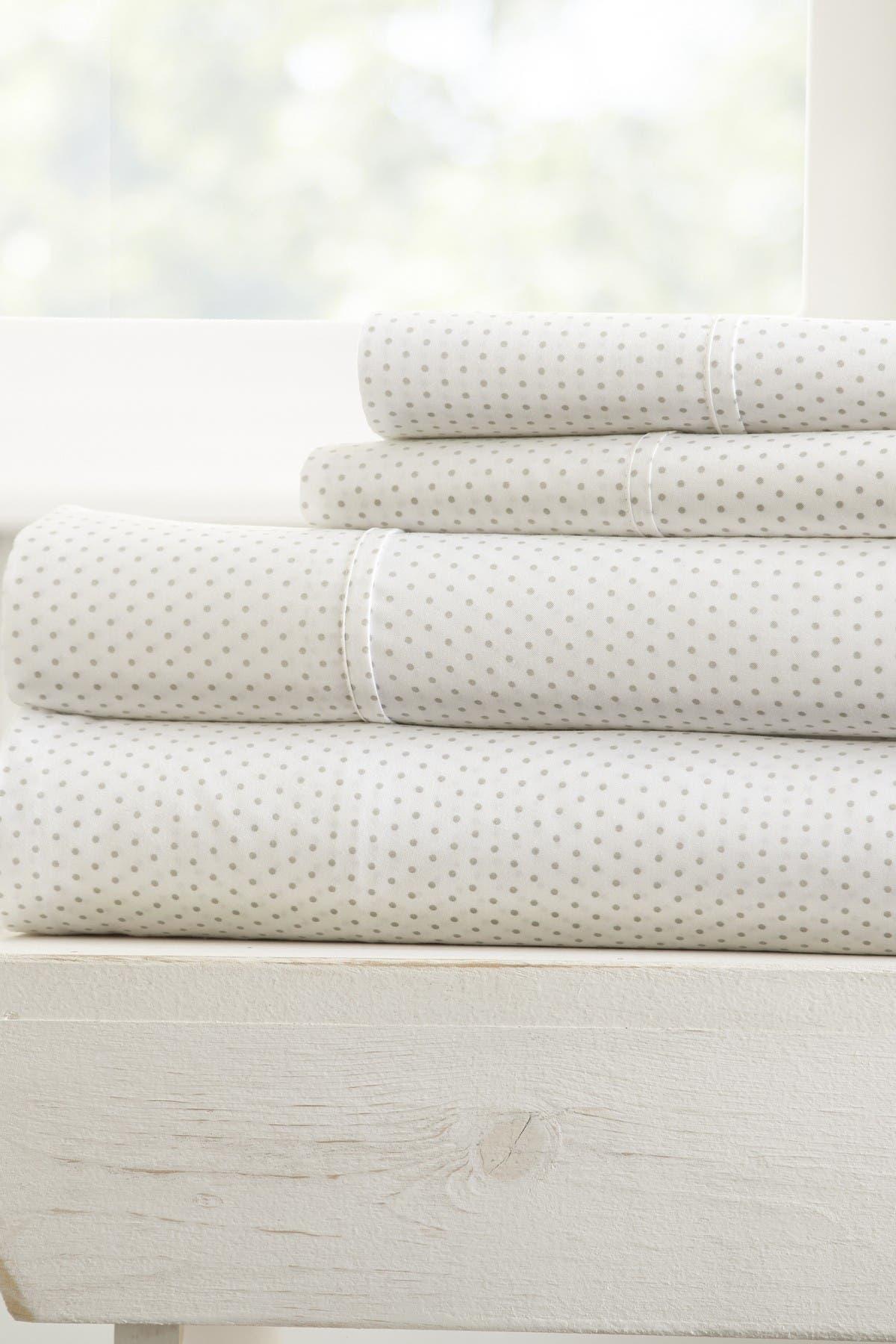 Image of IENJOY HOME The Home Spun Premium Ultra Soft 4-Piece Stippled Pattern King Bed Sheet Set - Light Gray