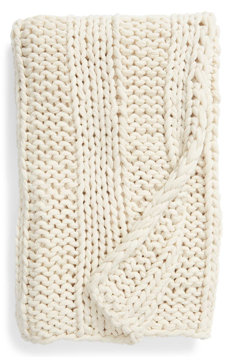 TREASURE & BOND Jersey Rope Ribbed Throw Blanket, Main, color, 900
