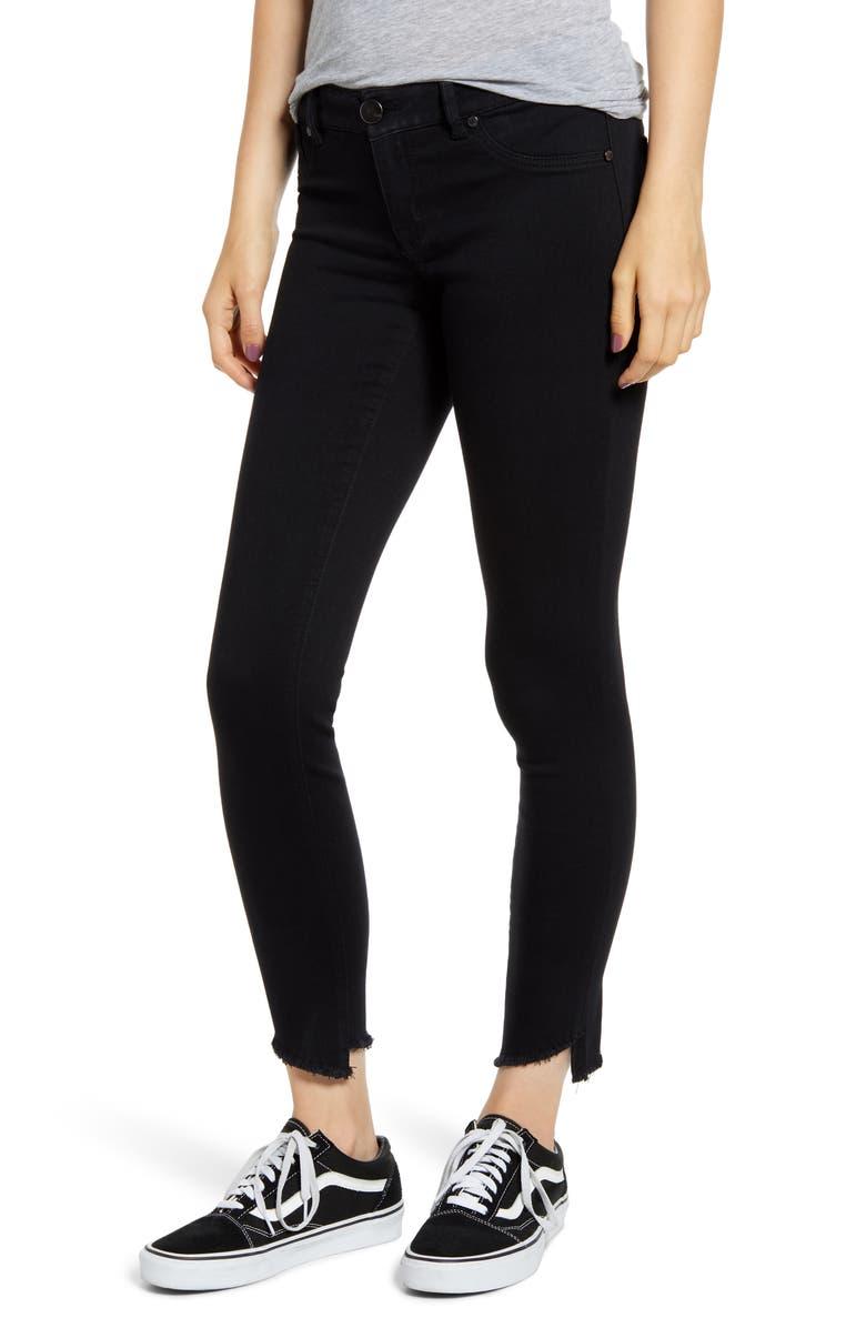 1822 DENIM Asymmetrical Hem Skinny Jeans, Main, color, BLACK