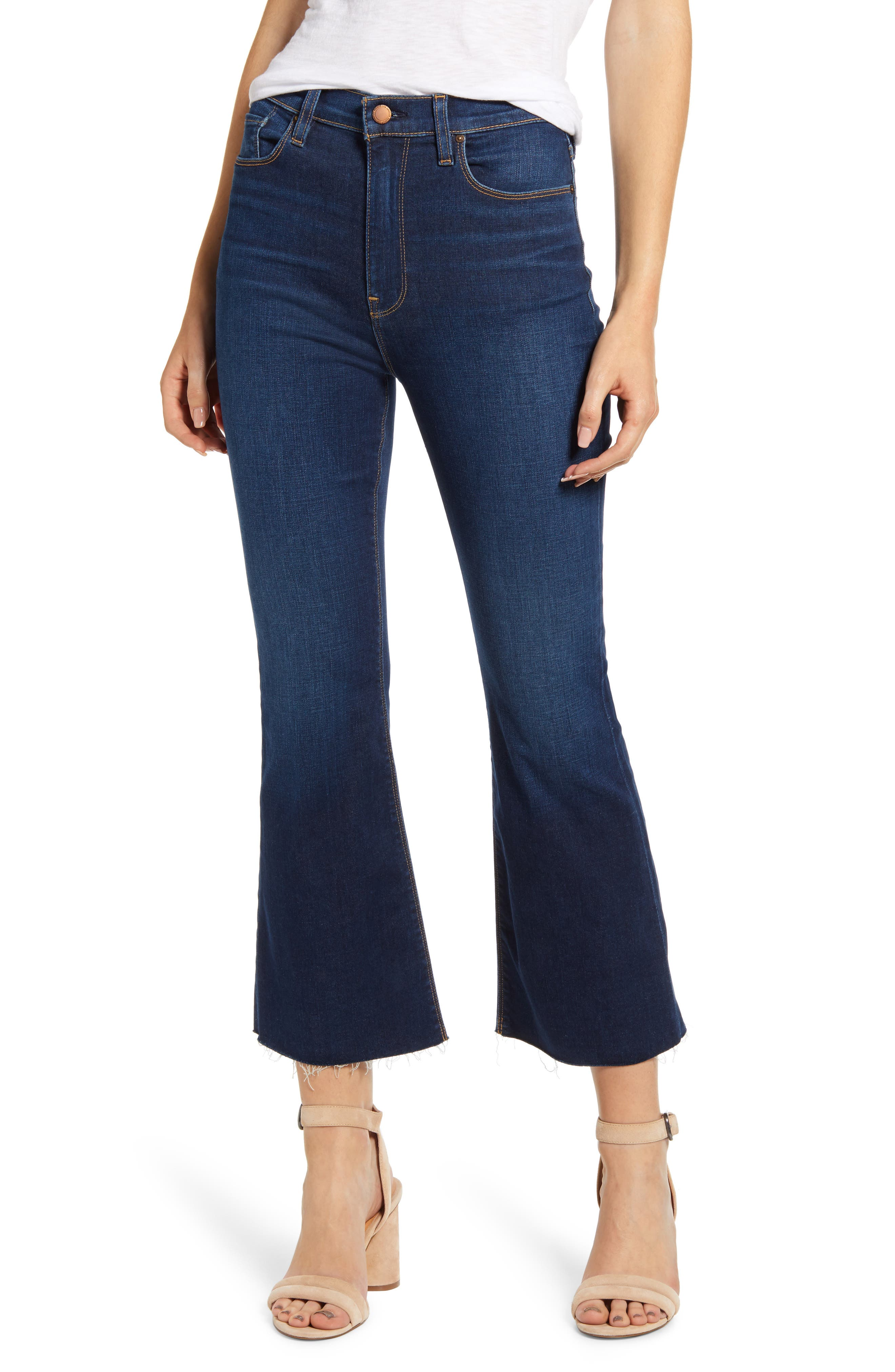 Figure-elongating flared jeans come in a soft and stretchy indigo denim that\\\'s been sanded just right for \\\'70s vibes. Style Name: Hudson Jeans Holly Barefoot Flare Jeans (Skeptical). Style Number: 5870894. Available in stores.