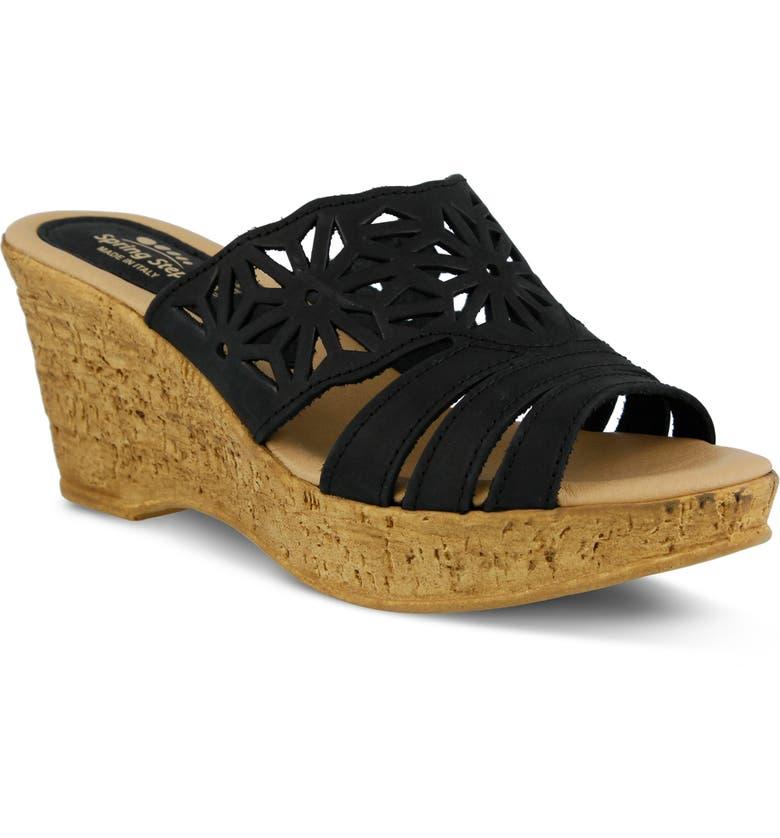 SPRING STEP Dora Platform Wedge Slide Sandal, Main, color, BLACK NUBUCK