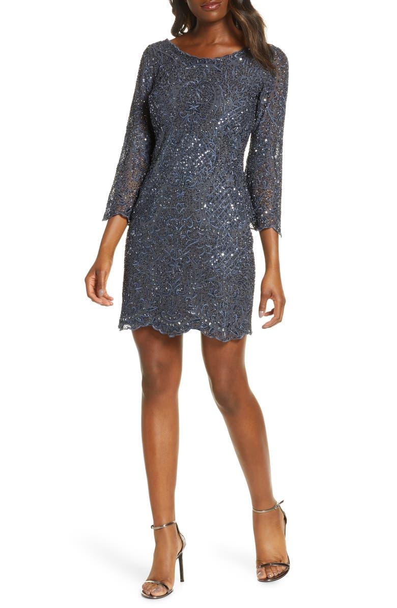 PISARRO NIGHTS Embellished Mesh Cocktail Dress, Main, color, 420