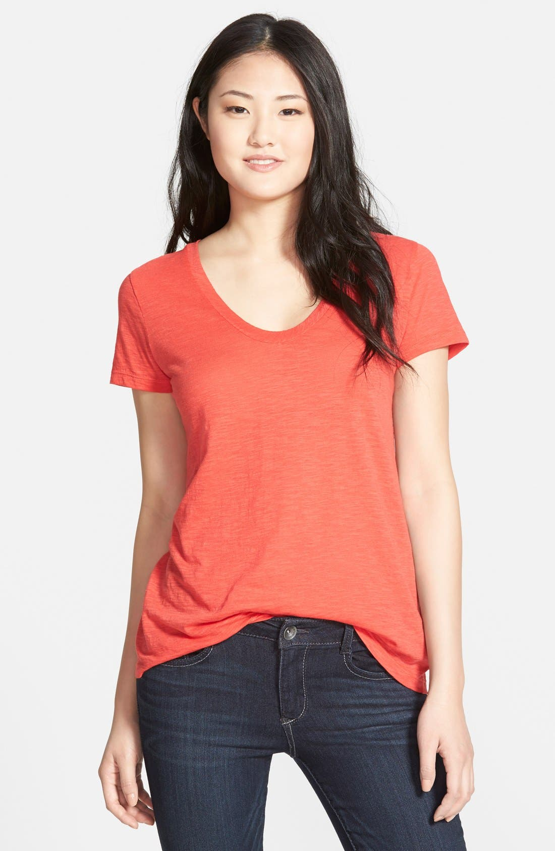 ,                             Relaxed Slub Knit U-Neck Tee,                             Main thumbnail 365, color,                             601