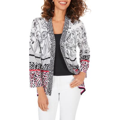 Foxcroft Florence Mixed Print Cardigan, Purple