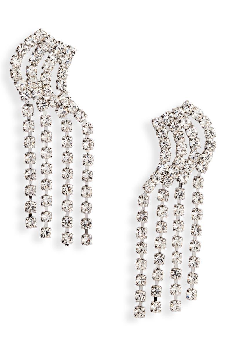 CRISTABELLE 4-Row Linear Crystal Earrings, Main, color, CRYSTAL/ SILVER