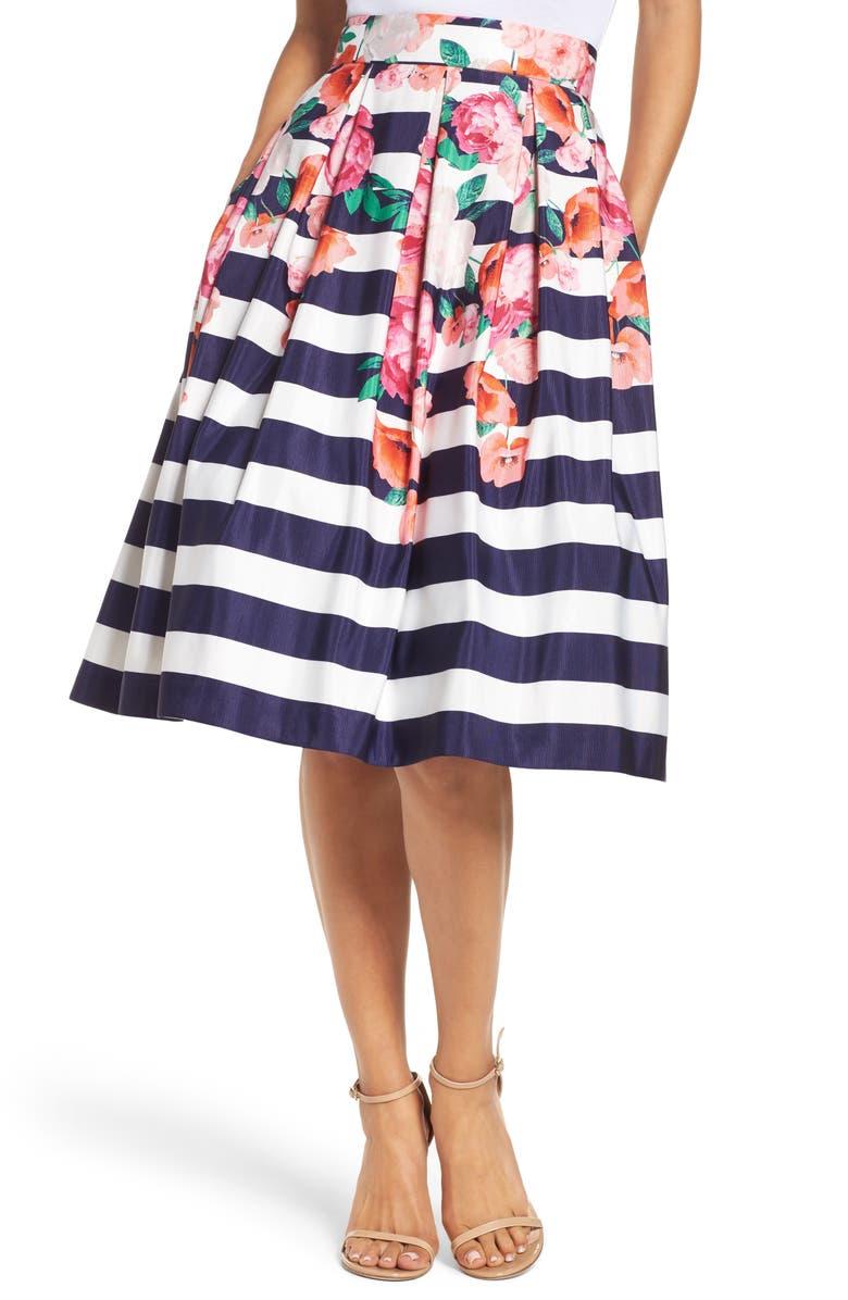 ELIZA J Floral Stripe Midi Skirt, Main, color, 650
