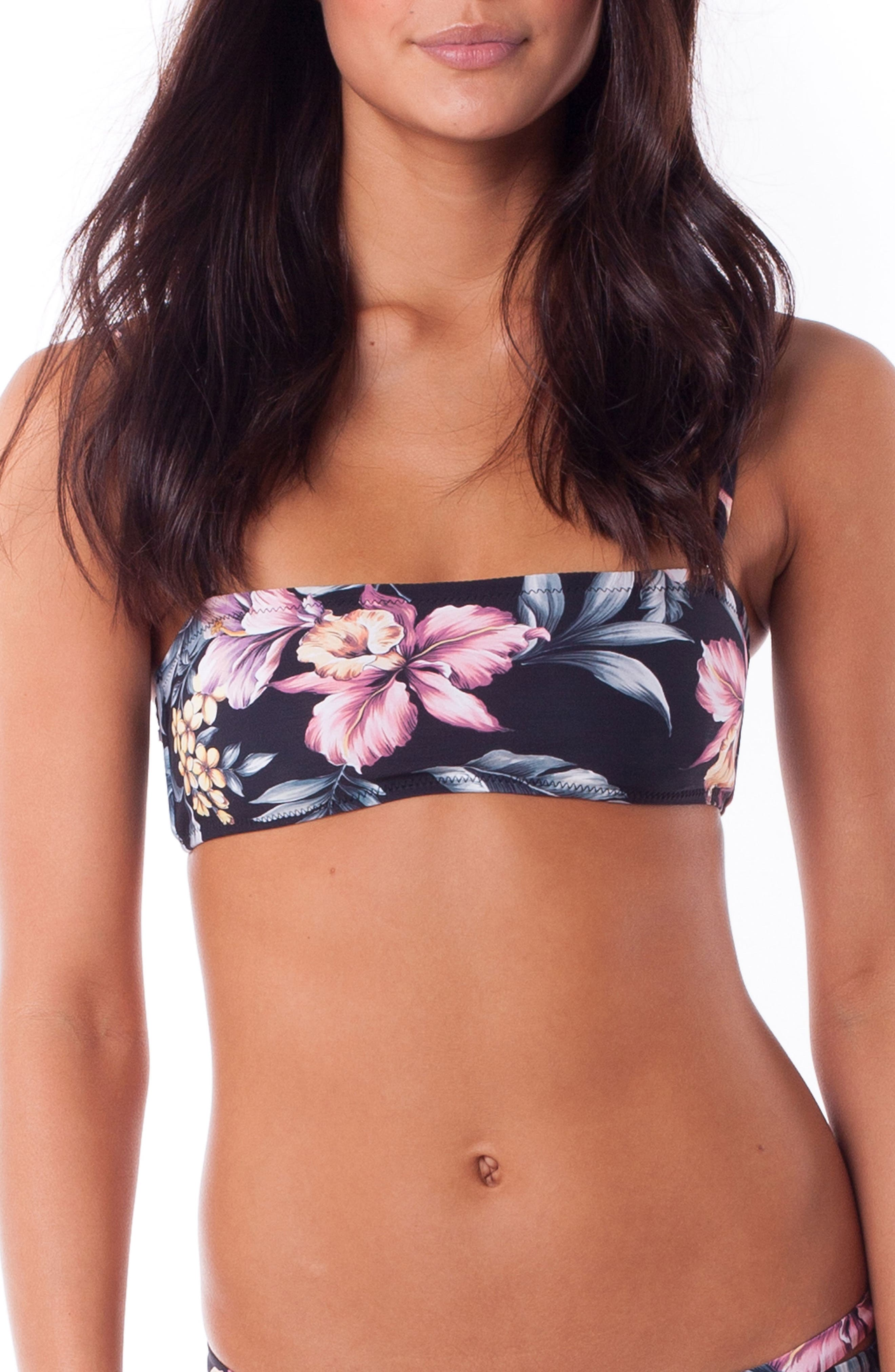 Rhythm South Pacific Bandeau Bikini Top, Black