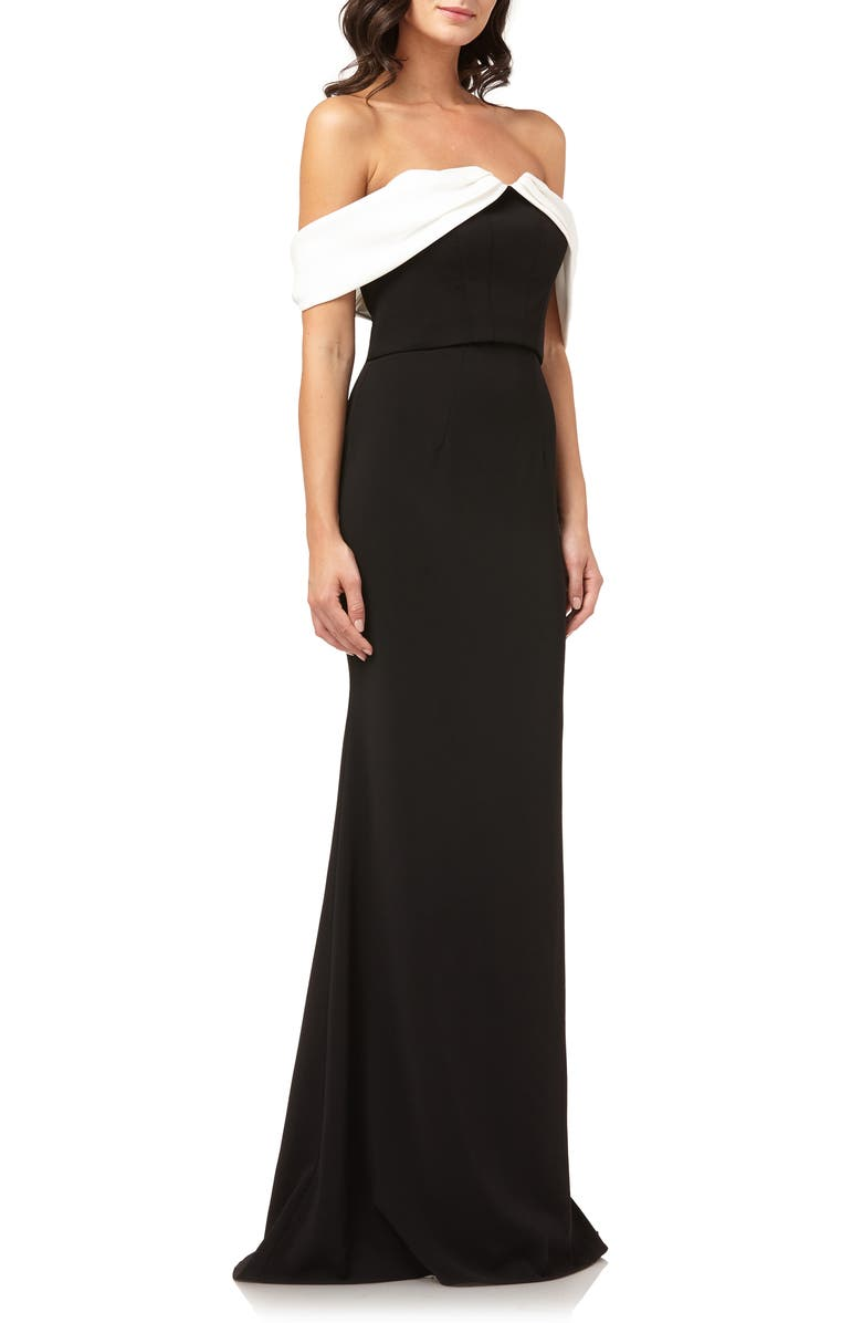 CARMEN MARC VALVO INFUSION Strapless Mermaid Gown, Main, color, BLACK/ IVORY