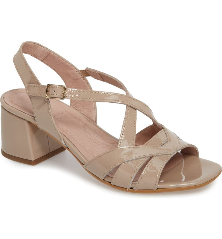 WONDERS Block Heel Sandal, Main, color, TAUPE LEATHER