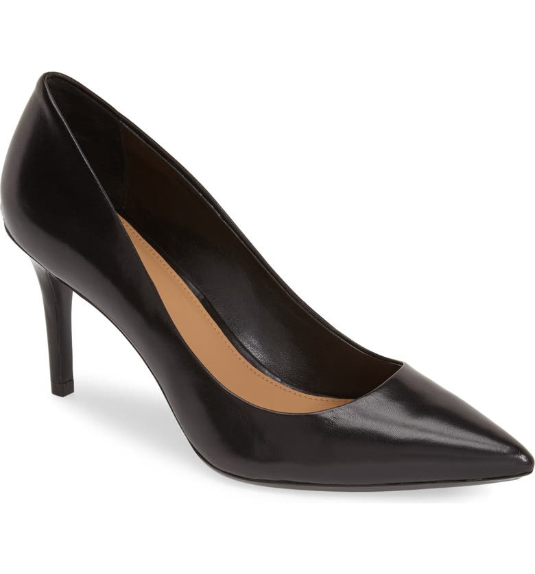 CALVIN KLEIN 'Gayle' Pointy Toe Pump, Main, color, BLACK LEATHER