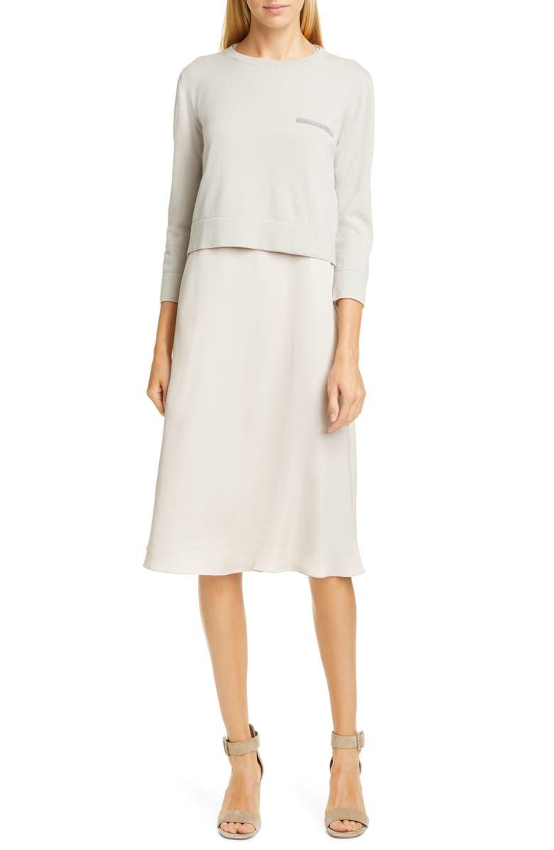 FABIANA FILIPPI Crepe Dress with Embellished Cashmere Sweater, Main, color, TAUPE